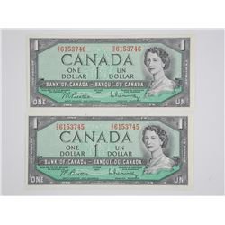 (LUN 10) Lot (2) Bank of Canada 1954 - One Dollar