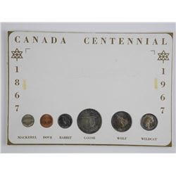1967 Silver Coin Set on Card Toned