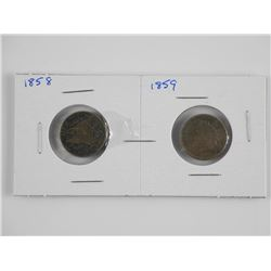 2x USA One Cent :1858 and 1859