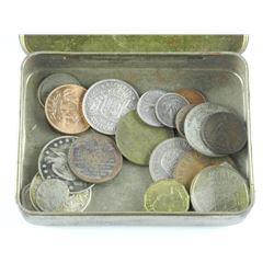 J.F. Bell Tobacco Tin with Coins - Estate