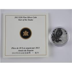 2013 .9999 Fine Silver 'Year of the Snake' Coin wi