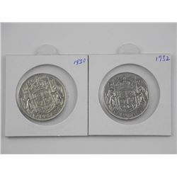 2x Canada Silver 50 Cent: 1950 and 1952