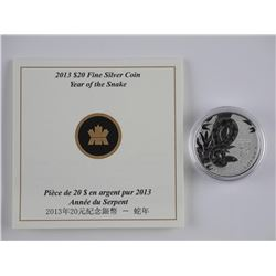 2013 .999 Fine Silver 'Year of The Snake' Coin wit