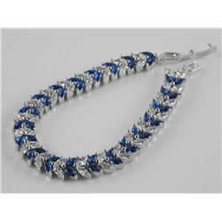 Ladies 925 Silver Bracelet Set with Marquise Sapph