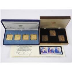 Lot 1976 Olympic Stamps Bronze Set and set 4x 24kt