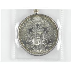 M. Teresa Silver Coin with Pendant Bezel and Chain