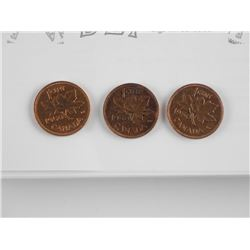 lot (3) 1950 King George 1 Cent (AU) with Price Gu