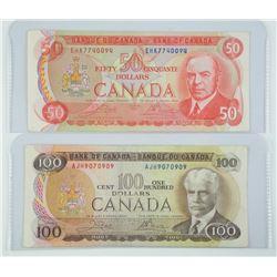 Lot (2) Bank of Canada 1975 Notes 50 & 100.
