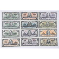 Lot (12) Bank of Canada Notes - One Dollar to One