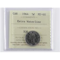 1964 Canada 5 Cent. MS60. Extra Waterline