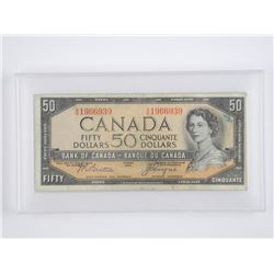 Bank of Canada 1954 Fifty Dollar Note. Devil's Fac