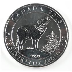.999 Fine Silver 'Howling Wolf' $2.00 Coin
