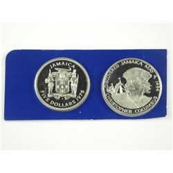 2x 1975 Jamaica Proof Silver $5 and $10