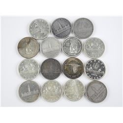 15x Canada Silver Dollar Coins. Mixed Years