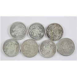 7x Canada Silver 50 Cent, Mixed.