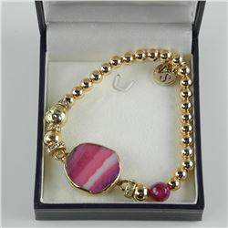 Gold Plated / 925 Silver Bead Bracelet with Agate