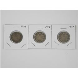 3x Canada 925 Silver 25 Cent Coins: 1917, 1918, 19