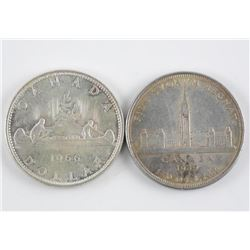 2x Canada Silver Dollars: 1939 and 1966