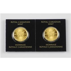 2x 9999 Fine Pure Maple Leaf Gold Coin