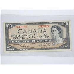 Bank of Canada 1954 - One Hundred Dollar Note. B/R