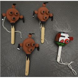 FOUR MINI HOPI RATTLES
