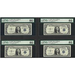 Lot of (4) Consecutive 1935E $1 Silver Certificate STAR Notes PMG Choice Unc. 64