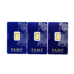Set of (3) 2.5 Gram Swiss Made PAMP Gold Ingot Cards