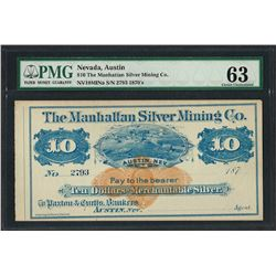 1870's $10 The Manhattan Silver Mining Co. Obsolete Note PMG Choice Uncirculated