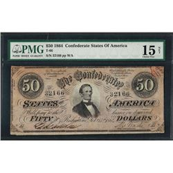 1864 $50 Confederate States of America Note T-66 PMG Choice Fine 15 Net