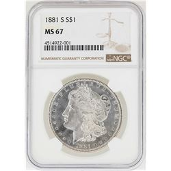 1881-S $1 Morgan Silver Dollar Coin NGC MS67
