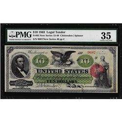 1863 $10 Legal Tender Note Fr.95 PMG Choice Very Fine 35