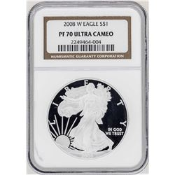 2008-W $1 American Silver Eagle Proof Coin NGC PF70 Ultra Cameo