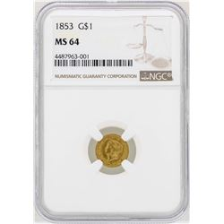 1853 $1 Liberty Head Gold Dollar Coin NGC MS64