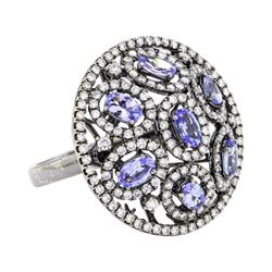 18KT Black Rhodium 1.50 ctw Tanzanite and Diamond Ring