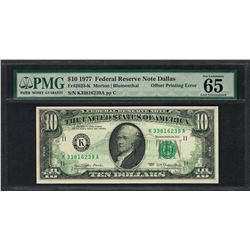 1977 $10 Federal Reserve Note ERROR Offset Printing PMG Gem Uncirculated 65EPQ