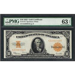 1922 $10 Gold Certificate Note Fr.1173 PMG Choice Uncirculated 63EPQ