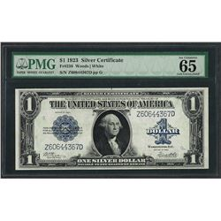 1923 $1 Silver Certificate Note Fr.238 PMG Gem Uncirculated 65EPQ