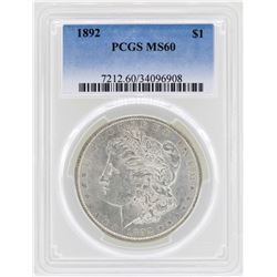 1892 $1 Morgan Silver Dollar Coin PCGS MS60
