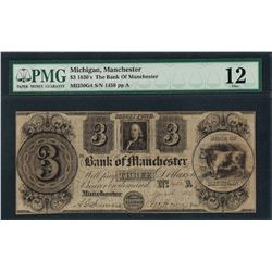 1830's $3 The Bank of Manchester Obsolete Note PMG Fine 12