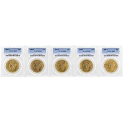 Lot of 1895-S to 1899-S $20 Liberty Head Double Eagle Gold Coins PCGS MS61