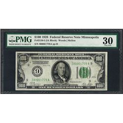 1928 $100 Federal Reserve Note Minneapolis Fr.2150-I PMG Very Fine 30