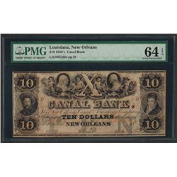 1840's $10 Canal Bank New Orleans Obsolete Note PMG Choice Uncirculated 64EPQ