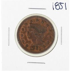 1851 Braided Hair Large Cent Coin