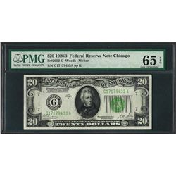 1928B $20 Federal Reserve Note Chicago Fr.2052-G PMG Gem Uncirculated 65EPQ