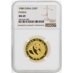 1988 China 50 Yuan Panda Gold Coin NGC MS69