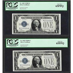 (2) Consecutive 1928B $1 Funnyback Silver Certificate Notes Fr.1602 PCGS Gem New