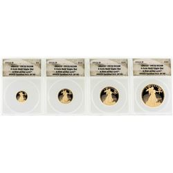 Set of (4) 2010-W American Gold Eagle Coins ANACS PR70DCAM First Strike