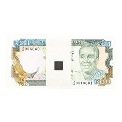 Pack of (100) Zambia 20 Kawacha Uncirculated Notes