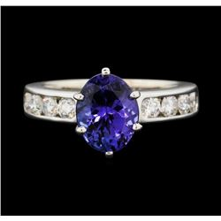 14KT White Gold 2.79 ctw Tanzanite and Diamond Ring