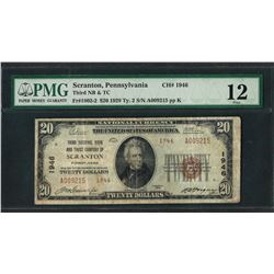 1929 $20 National Currency Note Scranton, Pennsylvania CH# 1946 PMG Fine 12
